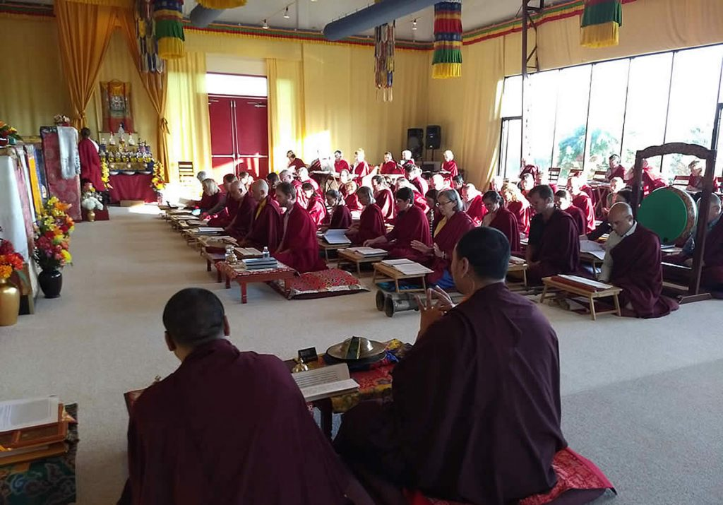 Students and Mindrolling Monks during a practice