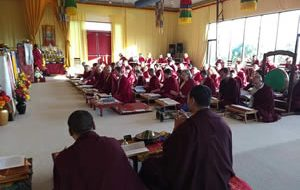 Mindrolling monks lead students during a practice